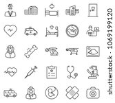 thin line icon set   heart... | Shutterstock .eps vector #1069199120