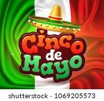 3d cinco de mayo party poster... | Shutterstock .eps vector #1069205573