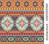 indian rug paisley ornament... | Shutterstock .eps vector #1069205960