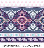 indian rug paisley ornament... | Shutterstock .eps vector #1069205966