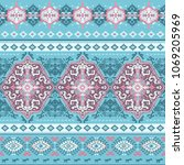 indian rug paisley ornament... | Shutterstock .eps vector #1069205969
