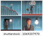 businessman on falling down... | Shutterstock .eps vector #1069207970