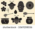 honey set. black silhouettes.... | Shutterstock .eps vector #1069208036