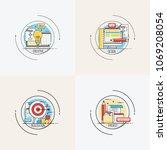 goal busines concept arrow hit...   Shutterstock .eps vector #1069208054