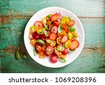mixed cherry tomato and... | Shutterstock . vector #1069208396
