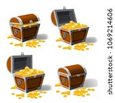 piratic trunk chests with gold... | Shutterstock .eps vector #1069214606