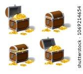 set of treasure chests  open...   Shutterstock .eps vector #1069214654
