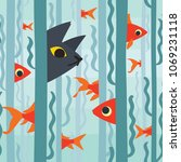 curious kitty watching aquarium ... | Shutterstock .eps vector #1069231118