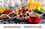 breakfast served with coffee ... | Shutterstock . vector #1069231148