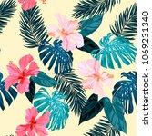seamless tropical hand drawn...   Shutterstock .eps vector #1069231340
