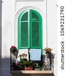 colorful shutters of italian... | Shutterstock . vector #1069231790