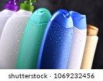 plastic bottles of body care... | Shutterstock . vector #1069232456