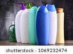 plastic bottles of body care... | Shutterstock . vector #1069232474