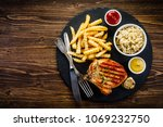 fried pork chop  french fries... | Shutterstock . vector #1069232750