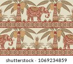 seamless pattern with elephant  ... | Shutterstock .eps vector #1069234859