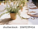 on festive table in wedding... | Shutterstock . vector #1069239416