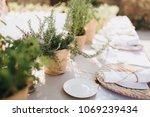 on festive table in wedding... | Shutterstock . vector #1069239434
