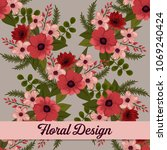 beautiful floral design. vector ... | Shutterstock .eps vector #1069240424
