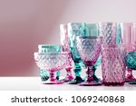 embossed colored drink glasses... | Shutterstock . vector #1069240868