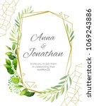 wedding invitation with green... | Shutterstock .eps vector #1069243886