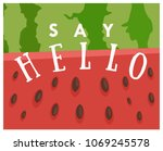 vector cute postcard with text... | Shutterstock .eps vector #1069245578