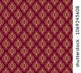 Seamless Damask Pattern With...