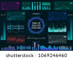 set of sound waves  futuristic...