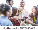 happy friends taking selfie... | Shutterstock . vector #1069246679
