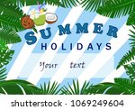 vector poster of a summer... | Shutterstock .eps vector #1069249604