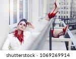 cute rich woman resting on... | Shutterstock . vector #1069269914