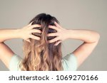 a young girl from the back with ... | Shutterstock . vector #1069270166