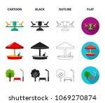 carousel  sandbox  park ... | Shutterstock .eps vector #1069270874