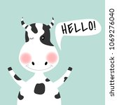 cartoon cute cow girl and... | Shutterstock .eps vector #1069276040
