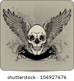 skull with wings and roses ...