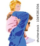 father carrying his young... | Shutterstock .eps vector #1069281506