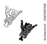 shaka hand surf sign vector... | Shutterstock .eps vector #1069282568