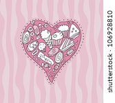 doodle heart background with... | Shutterstock . vector #106928810
