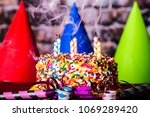 birthday cake with rainbow... | Shutterstock . vector #1069289420