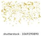 gold tinsel confetti falling... | Shutterstock .eps vector #1069290890