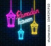 glowing neon ramadan holy month ...   Shutterstock .eps vector #1069291910