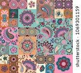 patchwork pattern. vintage... | Shutterstock .eps vector #1069301159