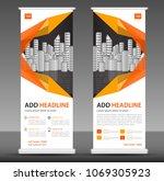 orange roll up banner stand... | Shutterstock .eps vector #1069305923