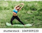 fitness sport girl in fashion... | Shutterstock . vector #1069309220