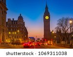 night traffic near big ben in... | Shutterstock . vector #1069311038