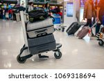 suitcase or baggage with... | Shutterstock . vector #1069318694