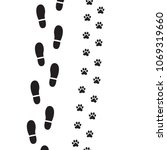 human foot prints and dog paw... | Shutterstock .eps vector #1069319660