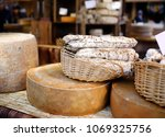 variety of organic cheeses and... | Shutterstock . vector #1069325756