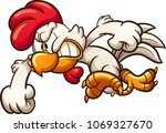 angry cartoon chicken throwing... | Shutterstock .eps vector #1069327670