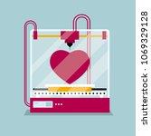 3d printing a heart shaped...   Shutterstock .eps vector #1069329128