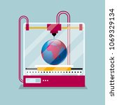 3d printing a earth model  the...   Shutterstock .eps vector #1069329134